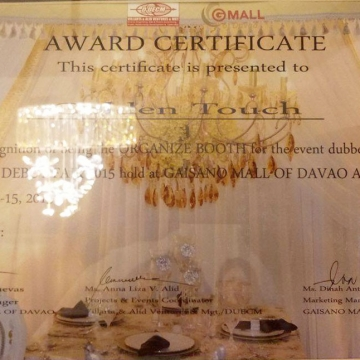 Awards & Certificates - Wedding, Birthday and Event Decorator in Davao City